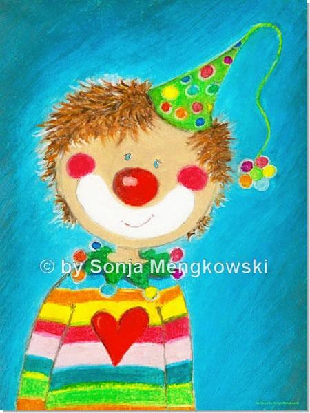 Pepino der kleine Clown Junge - Serie: Pastellbilder Motive fürs Kinderzimmer