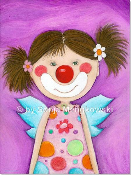 Rosa Lila Clown Mädchen - Serie: Pastellbilder Motive fürs Kinderzimmer