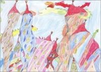 Tim 10 Jahre malt Drachenstadt