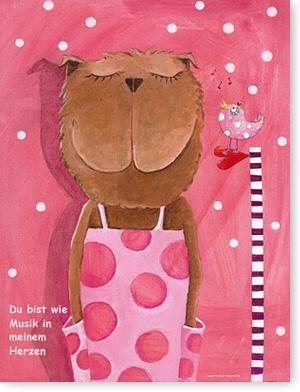 Kunst fürs Kinderzimmer mit Widmung Farbe Rosa