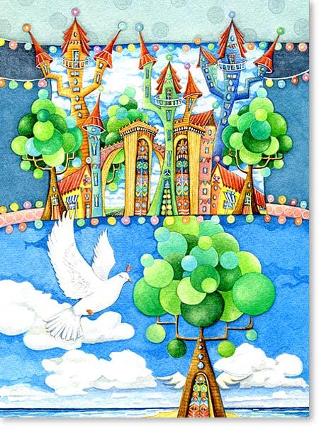 Aquarell Land des Friedens - Leinwandbild fürs Kinderzimmer