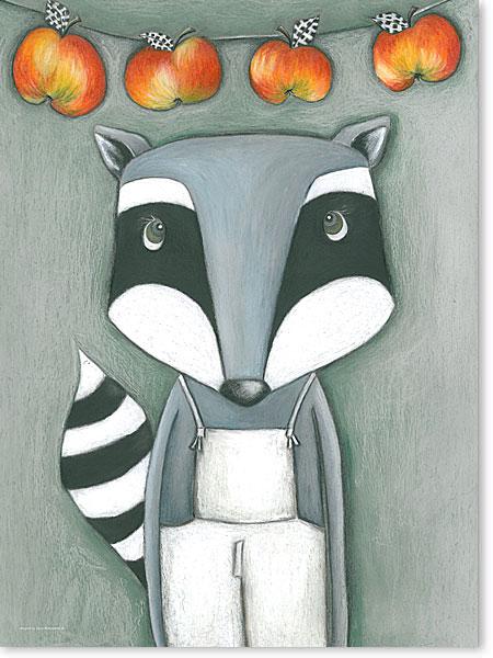 Waschbär - Serie: Pastellbilder Motive fürs Kinderzimmer