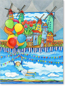 Aquarellbilder Serie: Märchenhafte Städte Motiv: Windmühlen Land