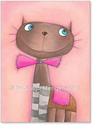 Pastellbild Katze Candy Cat für das Kinderzimmer