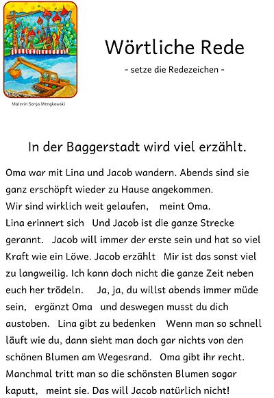 Unterrichtmaterial Deutsch wörtliche Rede