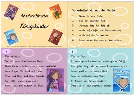 Unterrichtmaterial Deutsch Abschreibkartei - Königskinder