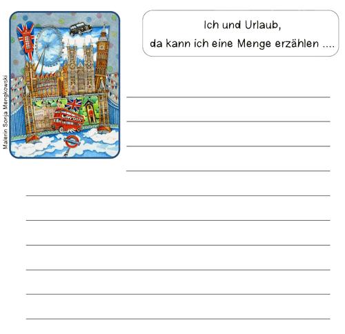 Unterrichtmaterial Deutsch Schreibanlass Schreibblatt Urlaub