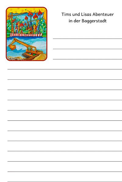 Unterrichtsmaterial_Schreibblatt_Bagger