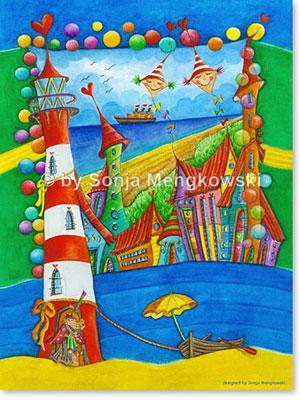 Aquarellbild Leuchtturm