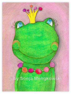 Pastellbild - Die Froschkönigin - Bilder für das Kinderzimmer