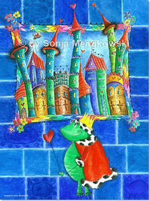 Aquarellbild - Der Froschkönig - Bilder für das Kinderzimmer