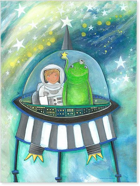 Irgendwo im Nirgendwo - Der kleine Astronaut und sein Freund im Raumschiff - Serie: Acrylbilder Motive fürs Kinderzimmer