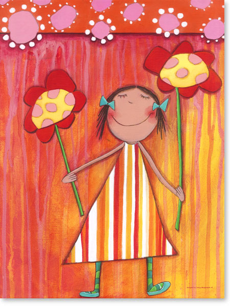 Acrylbild Blumen Mädchen - Leinwanddruck fürs Kinderzimmer