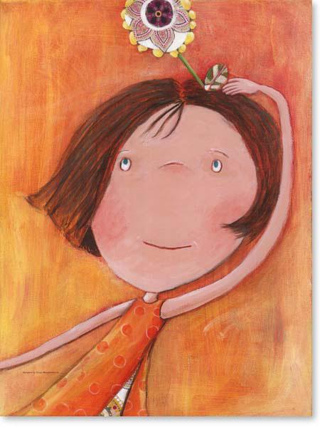 Acrylbild Blumenkind Linchen - Leinwanddruck fürs Kinderzimmer