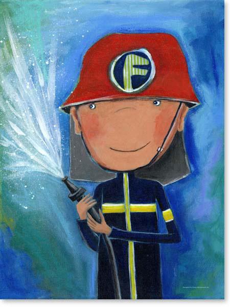 Acrylbild Feuerwehrmann - Leinwanddruck fürs Kinderzimmer