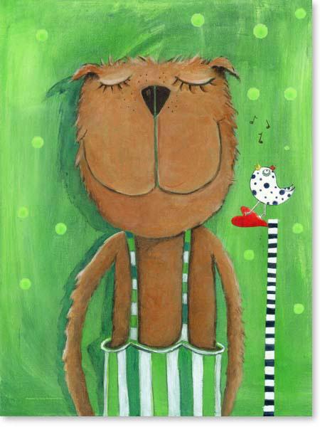 Acrylbild Herr Bär liebt Musik - Leinwanddruck fürs Kinderzimmer