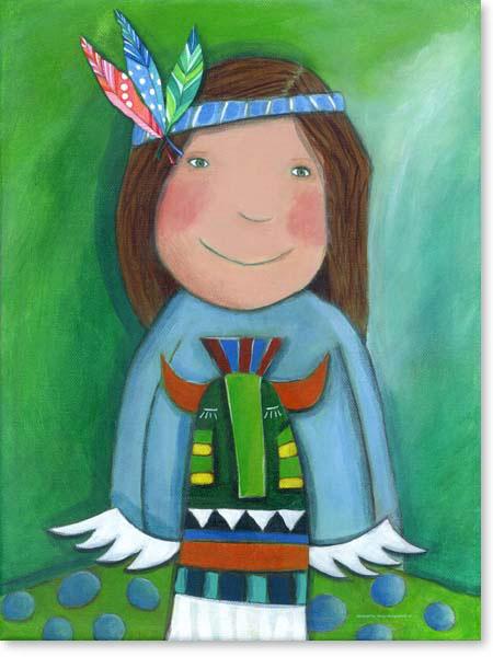 Acrylbild Indianer - Leinwanddruck fürs Kinderzimmer