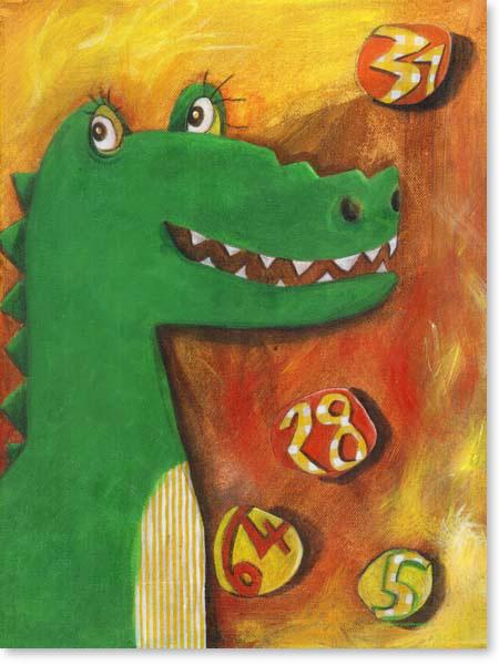 Acrylbild KROKODIL KONSTANTIN- Leinwandbild fürs Kinderzimmer