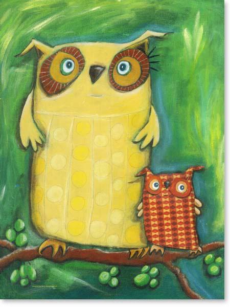 Acrylbild Mama Eule- Leinwanddruck fürs Kinderzimmer