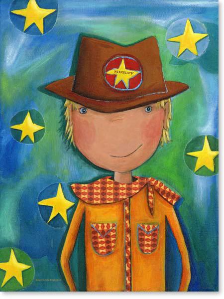 Acrylbild SHERIFF COWBOY - Leinwanddruck fürs Kinderzimmer