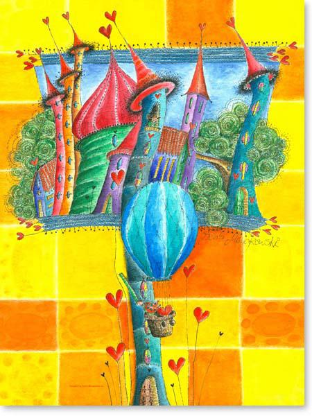 Aquarell Ballonfahrt - Wandbild Kinderzimmer