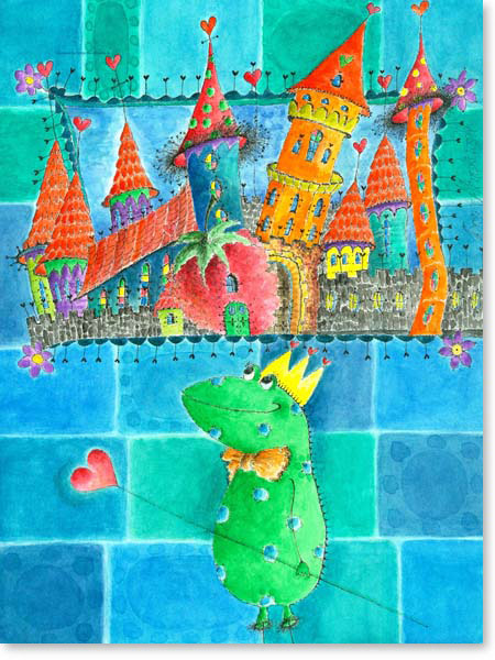 Aquarell Drachen Stadt - Wandbild Kinderzimmer
