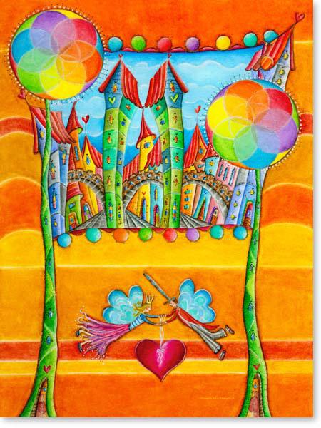 Aquarell Elfen Stadt - Wandbild Kinderzimmer