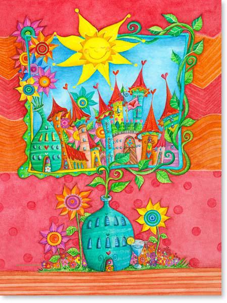 Aquarell Garten Stadt - Wandbild Kinderzimmer