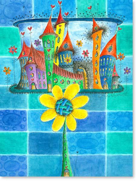 Aquarell Kirchenstadt - Wandbild Kinderzimmer