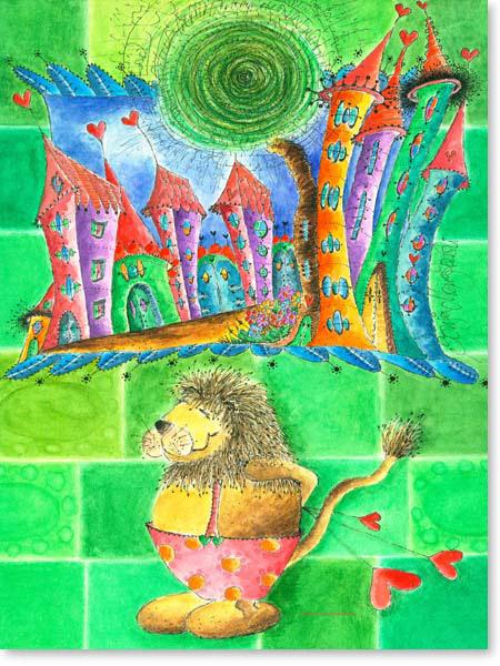 Aquarell Löwenherz - Wandbild Kinderzimmer