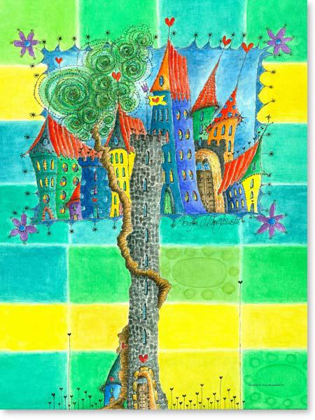 Aquarell Märchen Stadt- Leinwandbild Kinderzimmer