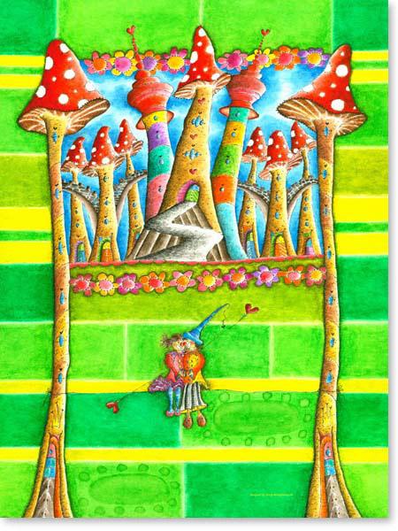 Aquarell Seiltanz - Wandbild Kinderzimmer