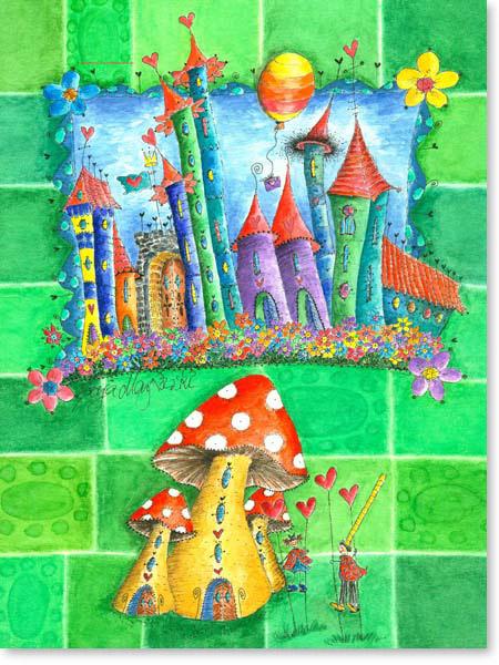 Aquarell Stelzenhausen - Wandbild Kinderzimmer