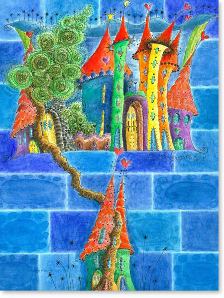 Aquarell Sternenstadt - Wandbild Kinderzimmer
