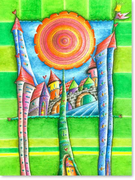 Aquarell Traum Stadt - Wandbild Kinderzimmer