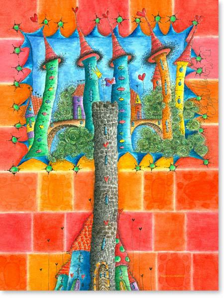 Aquarell Turmburg - Wandbild Kinderzimmer