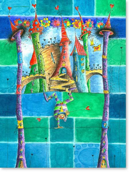 Aquarell Zirkusstadt - Wandbild Kinderzimmer