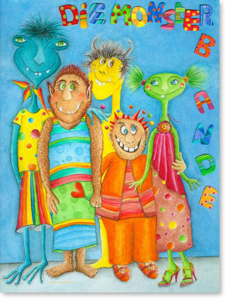 Pastellbild Die Monsterbande - Leinwandbild Kinderzimmer