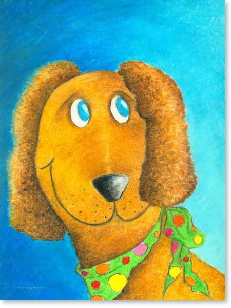 Pastellbild Hund Lefti - Leinwandbild Kinderzimmer