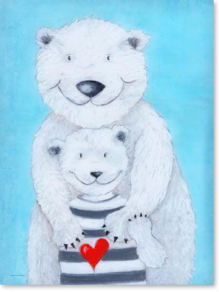 Pastellbild Papa Eisbär - Leinwandbild Kinderzimmer