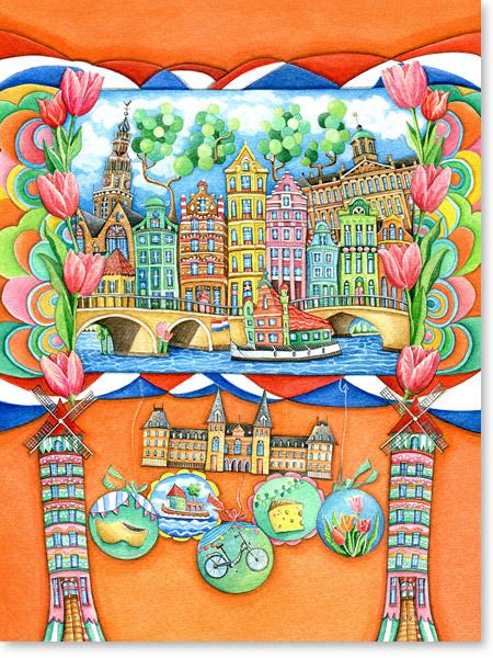 Aquarell Amsterdam - Wandbild für Kinderzimmer