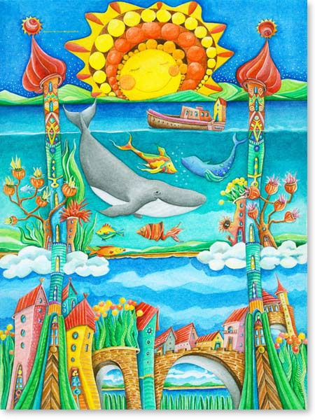 Aquarell Atlantis - Wandbild fürs Kinderzimmer