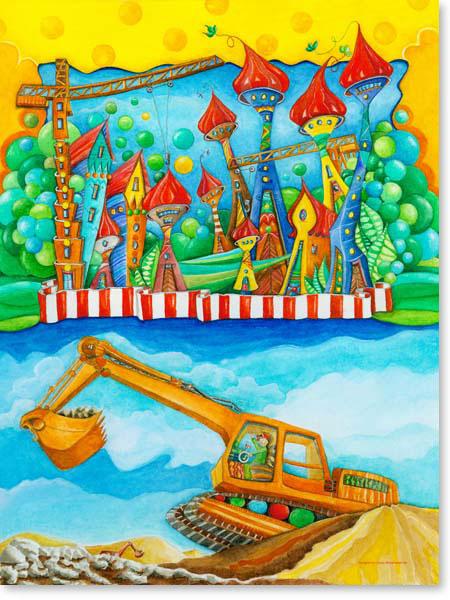 Aquarell Bagger Stadt - Wandbild fürs Kinderzimmer
