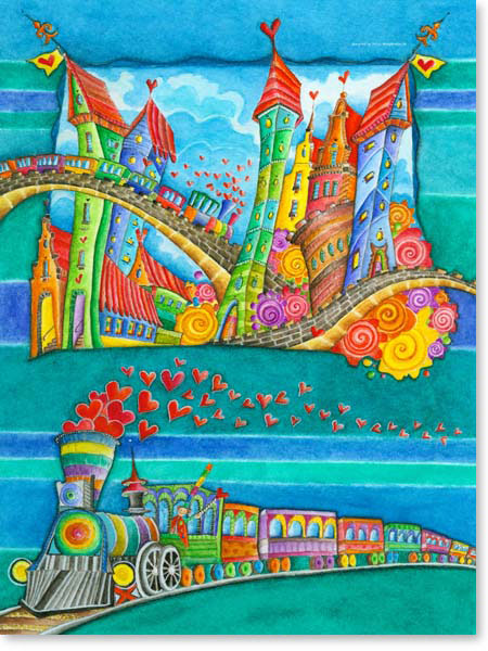 Aquarell Eisenbahn Stadt - Wandbild fürs Kinderzimmer