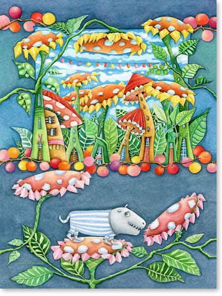 Aquarell Liebes Blumenfresserchen - Wandbild fürs Kinderzimmer