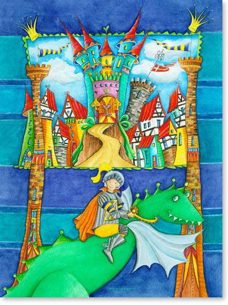 Aquarell Ritter Stadt - Wandbild fürs Kinderzimmer