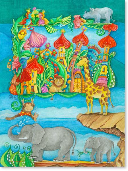 Aquarell Zoo Stadt - Wandbild fürs Kinderzimmer
