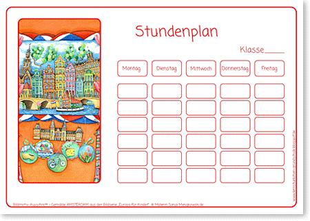 Stundenpläne für Kinder in der Grundschule Motiv Amsterdam