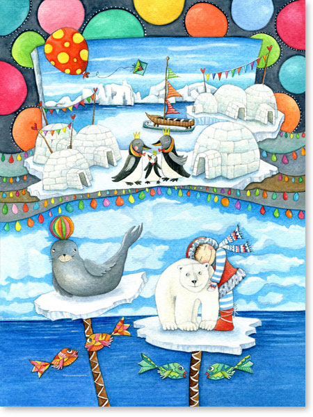 Aquarell Eisland - Leinwandbild fürs Kinderzimmer