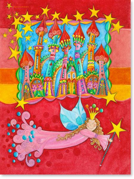 Aquarellbilder Sternenstadt - Wandbild fürs Kinderzimmer